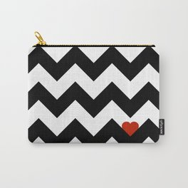 Heart & Chevron - Black/Classic Red Carry-All Pouch
