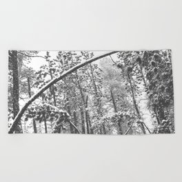 Forest Snowfall // Winter Tree Black and White Landscape Photography Backwoods Woodlands Woods Beach Towel