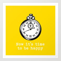 Time to be happy vintage inspired  Art Print