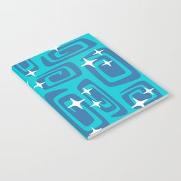 Mid Century Modern Cosmic Galaxies 436 Blue and Turquoise Notebook