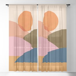 Abstraction_SUNSET_Mountains_Minimalism_010 Sheer Curtain