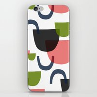 mid century iPhone & iPod Skins featuring Mid Century Shapes Greebn by Modern Day Magpie