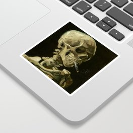 Skull of a Skeleton with Burning Cigarette by Vincent van Gogh Sticker