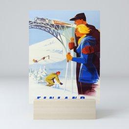Vintage Finnish Ski Travel Poster - Finnish State Railways Mini Art Print