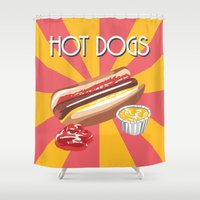 hot dog Shower Curtains featuring Hot dog by Kozza