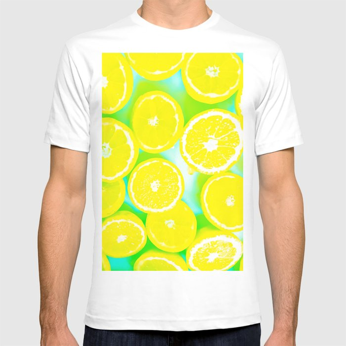 31d7a46d4d1 juicy yellow lemon pattern abstract with green background T-shirt by ...
