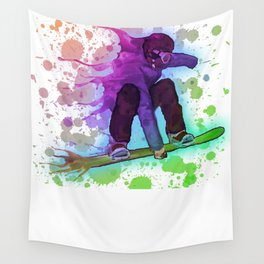 Paint splatter rainbow snowboarder Wall Tapestry