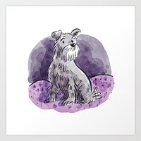 schnauzer Art Prints featuring Schnauzer by Renee Kurilla