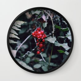 Wild berries in the forest Wall Clock