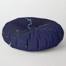 Night Blue Marble Floor Pillow