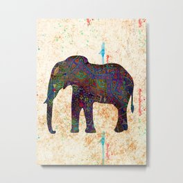 Tribal Elephant Metal Print