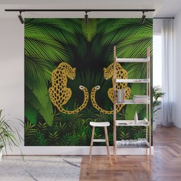 Jungle Exotic Tropical Leopards Wall Mural
