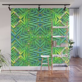 Pointy pattern in green, yellow, and blue Wall Mural