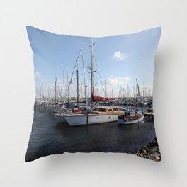 Sailboats at the Pier Throw Pillow