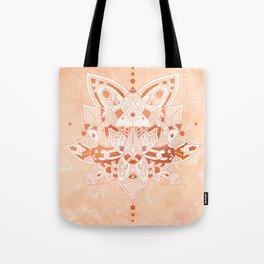 Happiness Mandala Metallic Rose Gold Beige Tote Bag