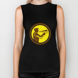 Movie Director Bullhorn Side Circle Retro Biker Tank