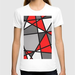 Triangels Geometric Lines red - grey - white T-shirt