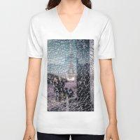 eiffel V-neck T-shirts featuring Tour Eiffel by Sébastien BOUVIER