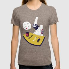 cooking with monsieur sloth Womens Fitted Tee Tri-Coffee SMALL