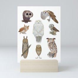 Owl Pattern Mini Art Print
