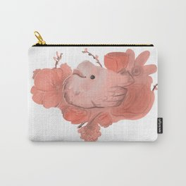 Sweet peach floral bird heart Carry-All Pouch
