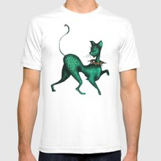 Green Spotted Kitty Mens Fitted Tee SMALL White
