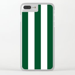 Forest green (traditional) - solid color - white vertical lines pattern Clear iPhone Case
