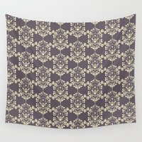 damask Wall Tapestries featuring Damask aubergine by Carolina Abarca