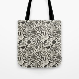 Lace on black background Tote Bag