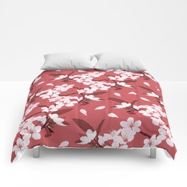 Sakura on red background Comforters