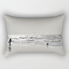 A man and his dog, Formby Beach Rectangular Pillow