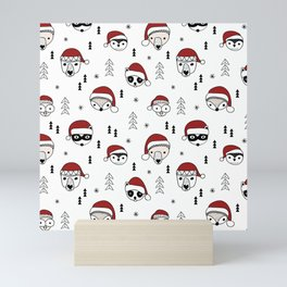 Scandinavian geometric woodland santa indian animals christmas pattern white red Mini Art Print