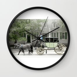 horse and carriage photography art Wall Clock
