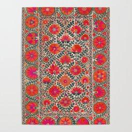 Kermina Suzani Uzbekistan Colorful Embroidery Print Poster