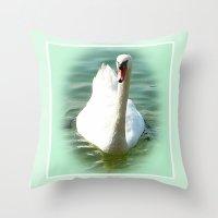 swan Throw Pillows featuring Swan by Art-Motiva