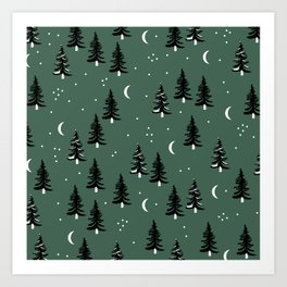 Christmas universe pine tree forest night Stars Moon Green Art Print