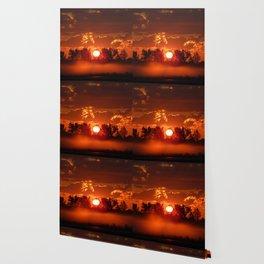 Flaming Horses over the Foggy Sunrise Wallpaper