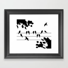 Peagons on wire  Framed Art Print