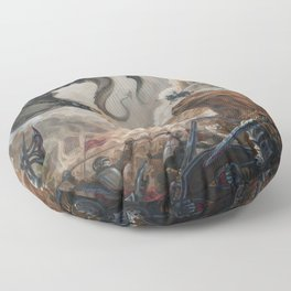Black Battle Dragon Floor Pillow