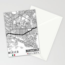 Monterrey, MEXICO Road Map Art - Earth Tones Stationery Cards
