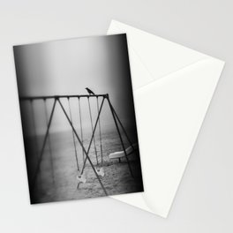 Waiting   a little black bird on the swing set Stationery Cards