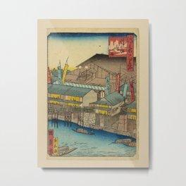 Isshusai Kunikazu - 100 Views of Naniwa: Kado-za Theater at Dôton-bori (1860s) Metal Print