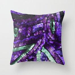 Violet Purple Mint Green Sequin Sparkle Throw Pillow