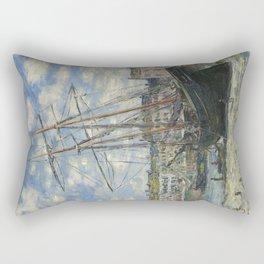Claude Monet - Boats Lying at Low Tide at Facamp Rectangular Pillow