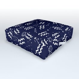 Blue And White Aquarius zodiac hand drawn pattern Outdoor Floor Cushion