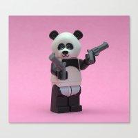 banksy Canvas Prints featuring  Banksy Panda by Minifignick
