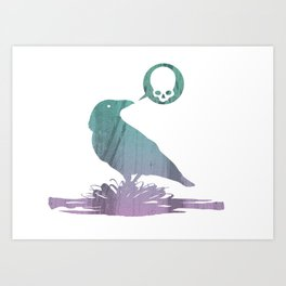 Pissed off crow Art Print