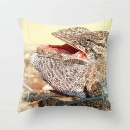 A Chameleon With Open Mouth Throw Pillow
