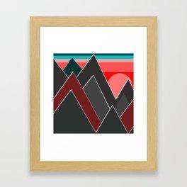 Red sunset over dark mountains. Framed Art Print