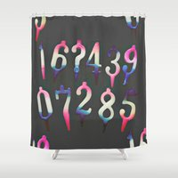 numbers Shower Curtains featuring Numbers! grey by gasponce